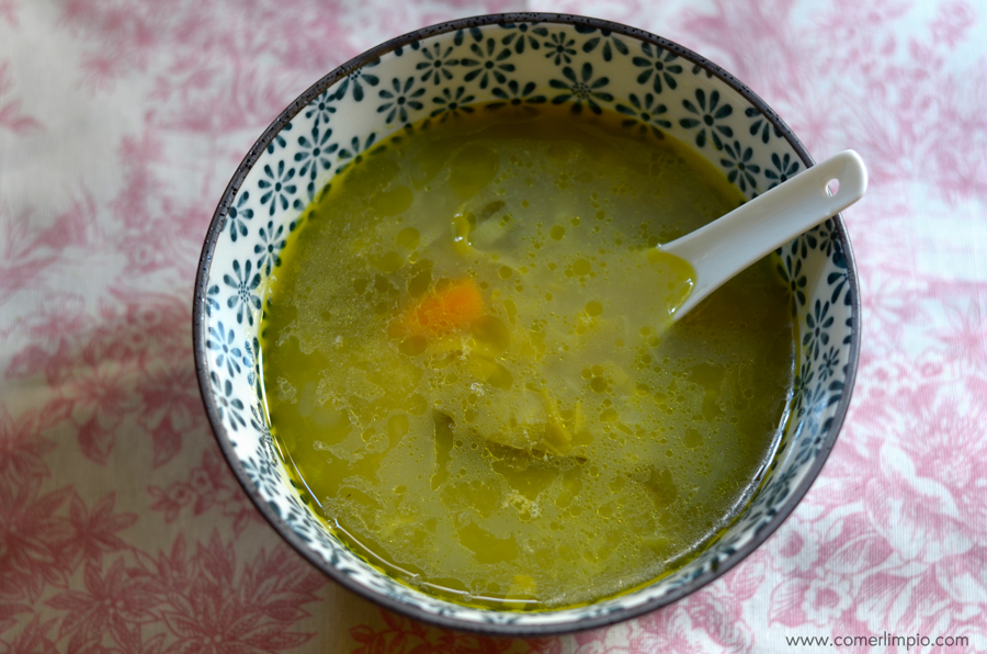 Sopa de puerro con sal de algas